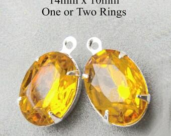Golden Topaz Glass Beads - 14x10 Oval - Rhinestone Glass Gems - Silver or Brass Settings - 14mm x 10mm - Jewelry Supply - One Pair