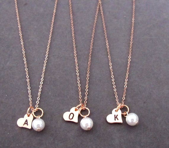 Rose Gold heart necklace, Rose Gold Heart Initial Necklace,Rose Gold heart Pendant ,Initial Necklace,Bridesmaid jewelry, Free Shipping USA