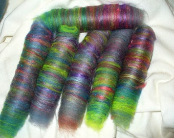 Wool Blend Rolags for Hand Spinning or Felting