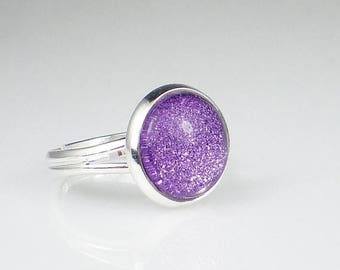SUMMER SALE Lavender Purple Glitter Nail Polish Ring Tru Passion Sparkle Adjustable Ring Jewelry