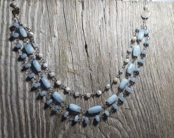 Blue Chalcedony Multi Strand Necklace