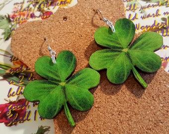 Green Clover Earrings handmade earrings wood earrings shamrock earrings lucky earrings green leaf earrings st patricks day earrings