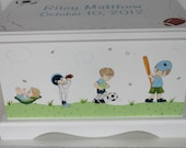 CUSTOM order for Debbie - Baby Keepsake Box Baby Memory Box for boy growing up hand painted personalized baby gift