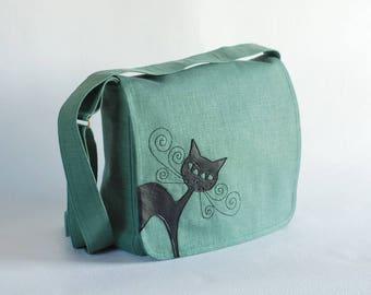 Green linen messenger bag, linen handbag, cat bag, big messenger