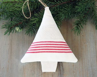Vintage Linen Christmas Tree Ornament, Lavender Sachet, Holiday Decor