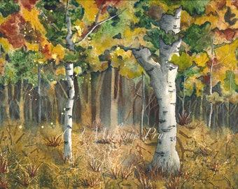 Watercolor ORIGINAL Painting Autumn Enchantment fairy woods trees 12 x 16 by Melanie Pruitt
