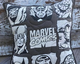 SALE- Marvel Throw Pillow-Comic Book- Throw Pillow--Upcycled Eco Friendly-Quilted