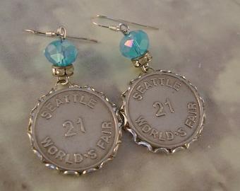 """The Gayway - Vintage 1962 Seattle Worlds Fair """"Gayway 21"""" Ride Tokens Rhinestones Sterling Silver Wires Recycled Repurposed Jewelry Earrings"""
