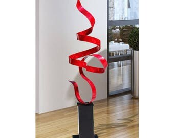 Red Freestanding Modern Metal Sculpture, Garden Decor, Large Abstract Metal Art, Yard Art - Red Perfect Moment by Jon Allen