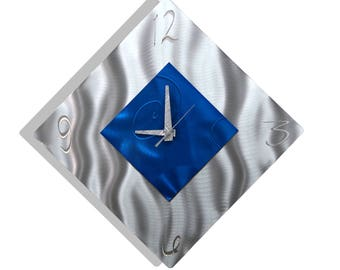 Blue & Silver Modern Metal Wall Clock, Contemporary Metal Wall Art, Abstract Wall Accent Clock, Office Decor - Spare Moment by Jon Allen