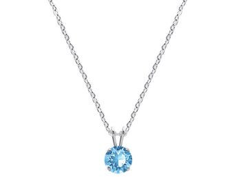 Swarovski Crystal Solitaire Necklace Sterling Silver Pendant Aquamarine or CHOICE OF COLOURS