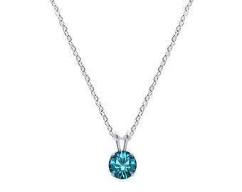 Swarovski Crystal Solitaire Necklace Sterling Silver Pendant Blue Zircon or CHOICE OF COLOURS