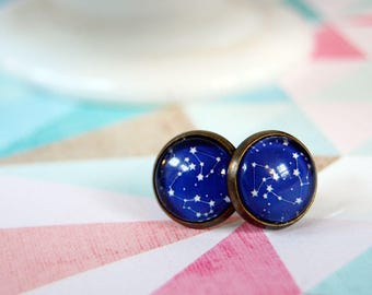 starry sky dark blue constellation framed post earrings