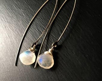 Rainbow Moonstone Long Earrings, Silver Earrings, Long Silver Earrings, Gemstone Earrings
