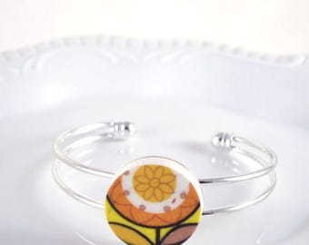 SUMMER SALE Recycled China Cuff Bracelet - Orange and Yellow