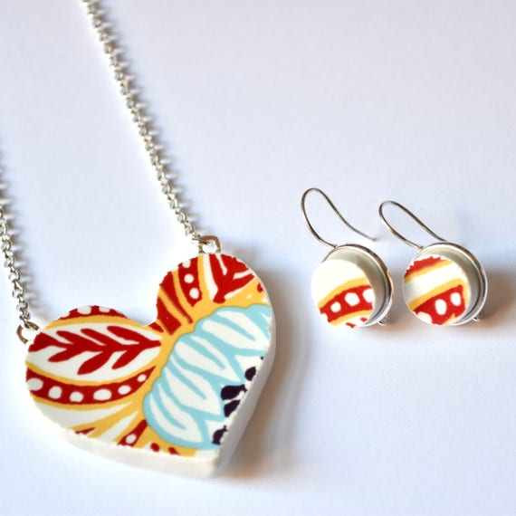 Broken China Jewelry Heart Pendant and Earring Set - Modern Red and Blue