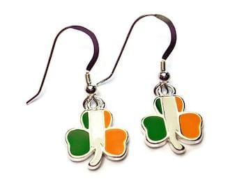 Irish Shamrock Earrings St. Patrick's Day Tricolor Flag Republic of Ireland Gift Boxed