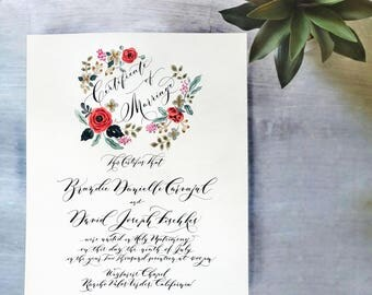 Marriage Certificate / Contract all Hand Watercolor and Calligraphy