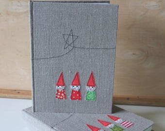 Three tomte buddies - bound notebook with appliqued linen cover no. 1 SALE