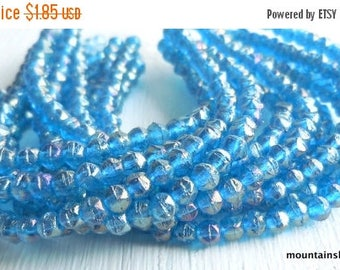 20% Summer SALE 3mm English Cut Beads - Luster Iris Capri Blue - Czech Glass Beads - 50 pcs (SP - 47)