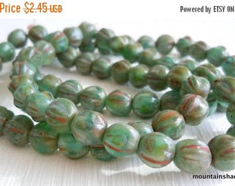 20% Summer SALE Melon Beads - 6mm Czech Glass Beads - Milky Aqua Picasso (GG - 12)