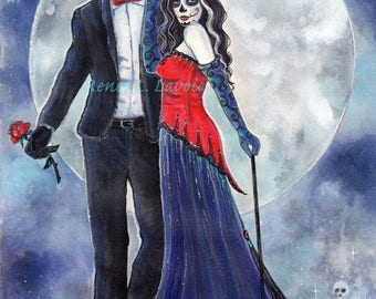 Midnight Rendezvous day of the dead lovers aceo print by Renee