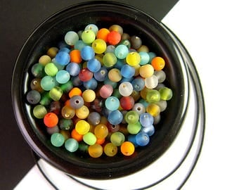 BIG Pack, 500 Tiny Matte Glass Bead Mix, 3.5 Ounces, 4mm, Round Glass Bead, Frosted Glass, Colorful Matte Glass Mix, Bead Soup X17