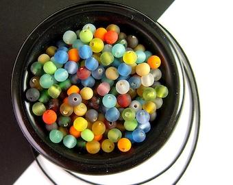 BIG Pack, 500 Tiny Matte Glass Bead Mix, 3.5 Ounces, 4mm, Round Glass Bead, Frosted Glass, Colorful Matte Glass Mix, Bead Soup X17
