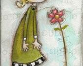 Original Folk Art Mixed Media Whimsical Painting for girls on wood - Nature Lover