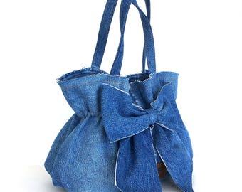Recycled bow bag , jean purse , recycled denim bow bag , blue handbag , Vegan bag , Top handle bag , Upcycled clothing , girls fashion bag