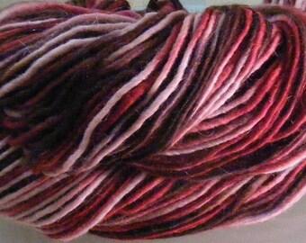SALE... Was 8.50... Now 6.00...DARK ROMANCE...handspun, handpainted wool yarn...4oz...188yd