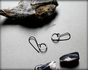 Pebble Circle Earrings, Oxidized Geometric Earrings, Minimalist Metal Earrings