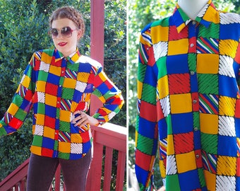COLOR Block 1980's Vintage Bright Blue Red + Yellow Checkered Secretary Blouse w/ Long Sleeves // size Medium // by Tung Tai