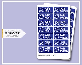 Air Mail Par Avion stickers - 28 stickers for mail letters