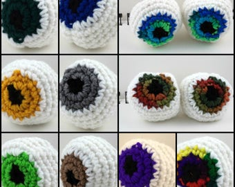 Large Crocheted Eyeball Cat Toy (with catnip and bell, choose your color)