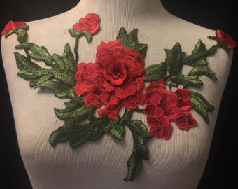 Embroidered Floral Applique 3D
