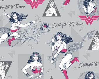 Wonder Woman Strength & Power in Light Grey Licensed DC Camelot Fabric By The Yard