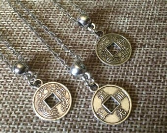 SUMMER SALE Tiny Chinese Coin Necklace - Silver Chinese Coin Necklace with Kanji on Thin Silver Chain - Layering Necklace