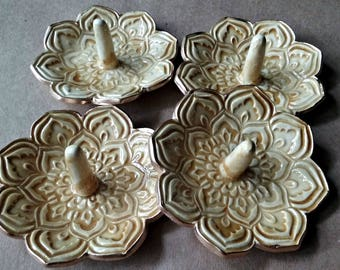 SALE FOUR Lotus Ring Holder Bowls shower favors SECONDS Honey edged in gold
