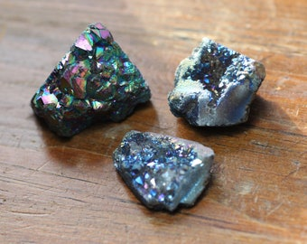 Blue Iris Quartz Druzy Nugget Beads Raw Gemstone Crystal Blue Stone Big Beads Jewelry Making Supplies