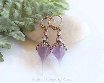 Purple Earrings, Brass Earrings, Purple Lampwork, Flower Pods, Swarovski Crystals, Rhinestone Spacers, Victorian Earrings, Ultra Violet