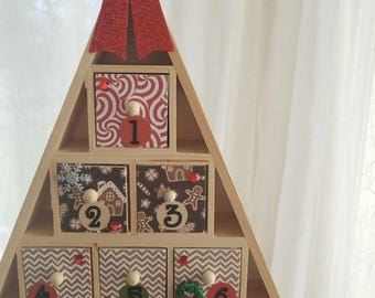 Christmas Tree Advent Calendar - Christmas Countdown Cookies Gingerbread Houses and Gingerbread Men - Chevron and Peppermint Candy Swirls