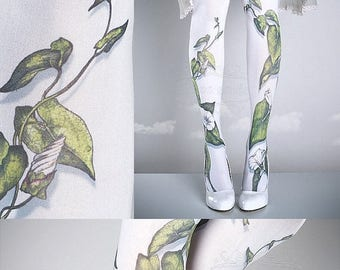 ON SALE/// Tattoo Tights -  Climber Plant white one size full length closed toe pantyhose tattoo socks ,printed tights