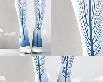 ON SALE/// Tattoo Tights -  Tree one size blue and white full length printed tights, pantyhose, nylons by tattoosocks