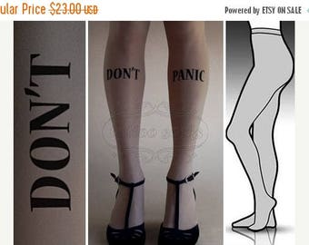 ON SALE/// L/Xl Grey Don't Panic tattoo tights / stockings/ full length / pantyhose / nylons