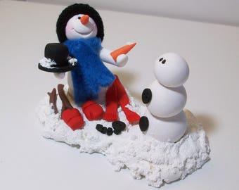 Reserved custom order for Joy: snowman making a snowman friend