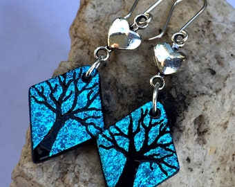 Teal Tree Long Dichroic Glass Earrings with Love Hearts