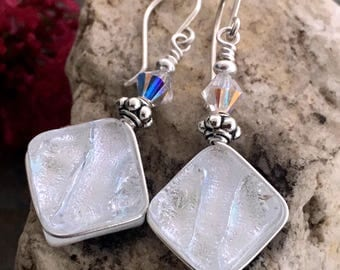 Dichroic Glass Earrings Pretty Silver White Wire-Wrapped with Sterling Hooks