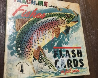 46 Vintage prehistoric flashcards 1962 small prints fish Teach Me About Fishes flash cards