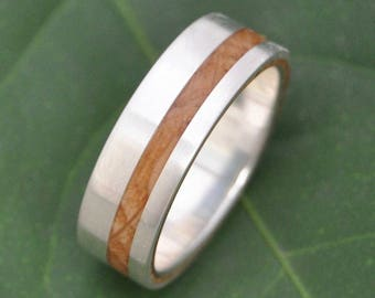 Size 11, 7mm Equinox Bourbon Barrel Oak Wood Ring with Recycled Silver - wood wedding ring, bourbon barrel wedding ringwhiskey barrel ring